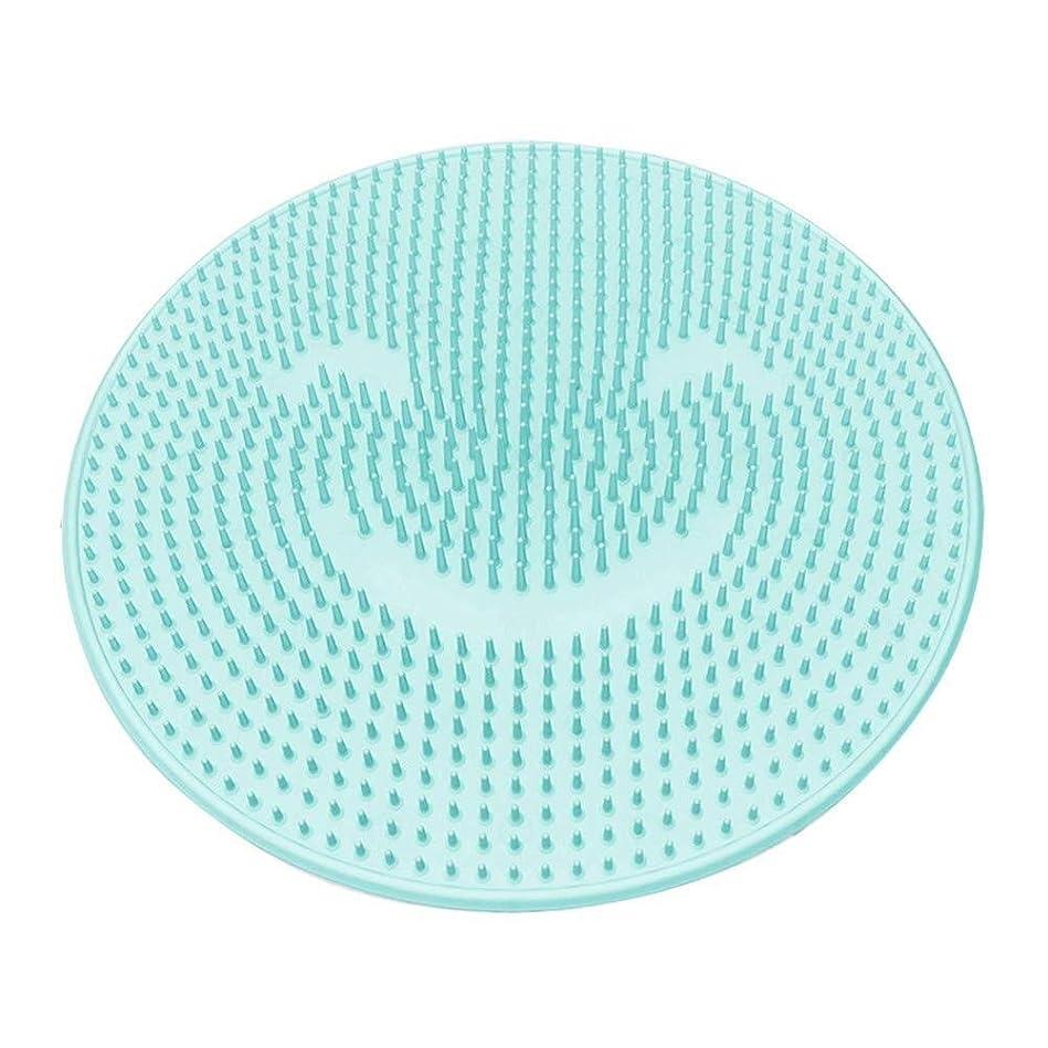 とまり木助言水陸両用バスマット シャワーフットマッサージャー シリコン マッサージクッション マッサージャーパッド フットマッサージャー (Color : 青)