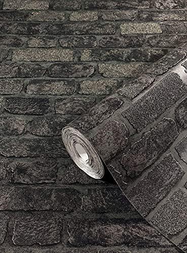 Steintapete Schwarz Backstein Optik Ziegelstein 3D Effekt für Schlafzimmer Wohnzimmer oder Küche Tapete Steinoptik 10,05m x 0,53m 58423 marburg