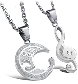 Couple Necklace for Lover 2PC Matching Set Stainless Steel Valentine's Gift
