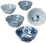 西海陶器 多用 鉢 藍 絵変り 化粧箱入 日本製 直径 15.5 cm 5個 セット 31303