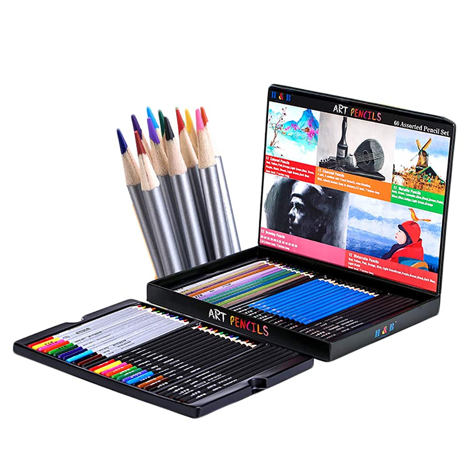 BUCOTA H&B Series Drawing 60 Colored Pencils Set with Double-Layer Box Sketching Watercolor Pencil Professional Art Supply Stationery.60pc