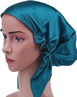 Frcolor Mulberry silk sleeping cap long hair bonnet night hair bonnet hat for women girls(Blue)