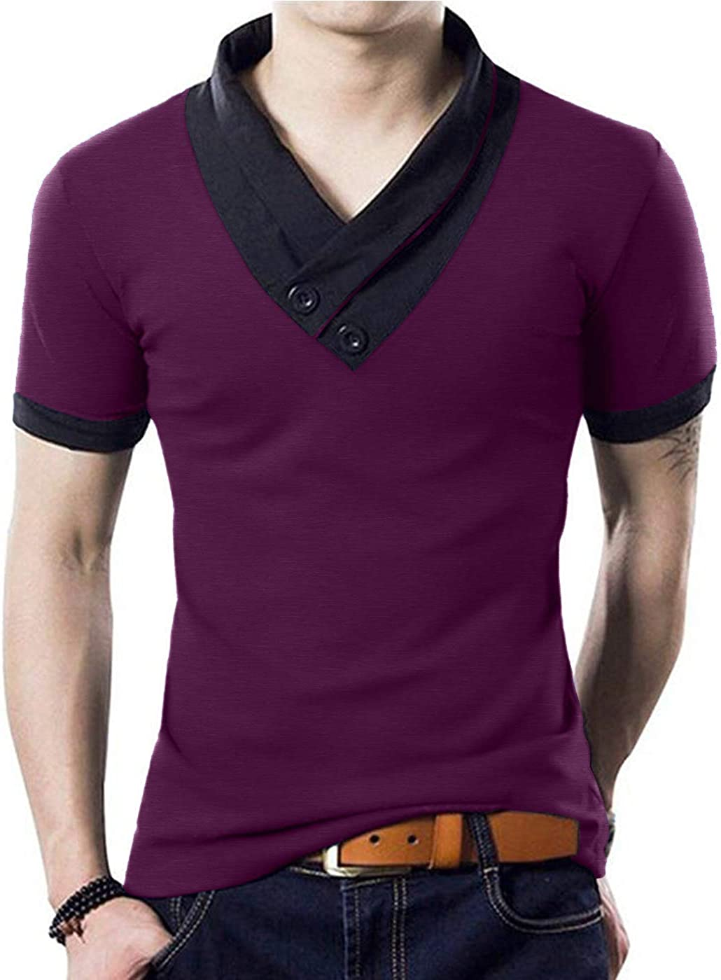 YTD 100% Cotton Inventory cleanup selling sale Mens Casual V-Neck Button S Tee Muscle Tops Special price for a limited time Slim