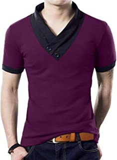 YTD 100% Cotton Mens Casual V-Neck Button Slim Muscle Tops Tee Short Sleeve T- Shirts