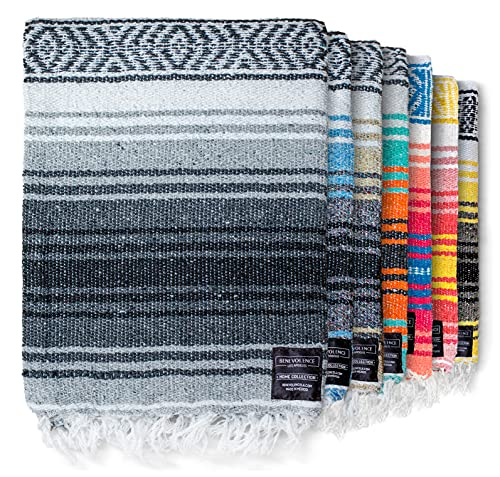 Authentic Mexican Yoga Blanket, Handwoven Serape Yoga Blanket by Benevolence LA