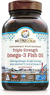 Triple Strength Omega-3 Fish Oil Supplement, Better Absorbed Tg Form, Made In Usa, 5-Star Certified, Consumerlab Approved,...