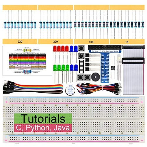 Freenove Basic Starter Kit for Raspberry Pi 4 B 3 B+, 147 Pages Detailed Tutorials, Python C Java, 146 Items, 17 Projects, Learn Electronics And Programming, Solderless Breadboard