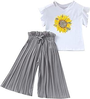 Xmiral Kinder Kinder Mädchen Kurzarm Outfits Brief T-Shirt  Breite Beinhosen