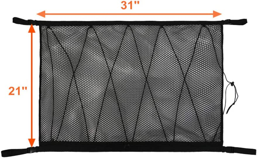 Vibkow Car Ceiling Storage Net Pocket Adjustable Upgraded Car Roof Interior Cargo Net Childrens Toy Sundries Storage Pouch for Car SUV Van Double-Layer Mesh Bag with Zipper /& Drawstring