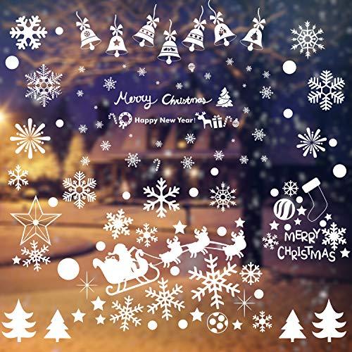 WELLXUNK 192 Schneeflocken Deko, Fensteraufkleber Weihnachten Fenstersticker PVC Fensterbilder Weihnachten Fensterdeko, Weihnachtsdeko für Schaufenster, Vitrinen, Glasfronten und Mehr