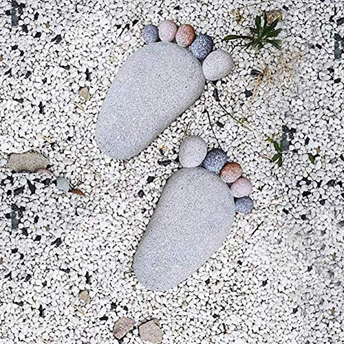 erddcbb Pair Of DIY Footprint Stepping Stone Garden Path Statue Home Decoration,LightGray