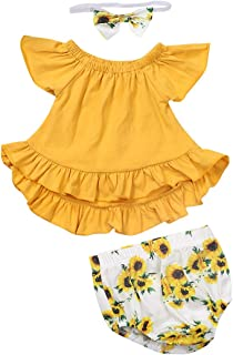 Xuuly Newborn Baby Girl Clothes Ruffle Off Shoulder Tops and Sun Flower Pant with Headband Summer Outfits Set