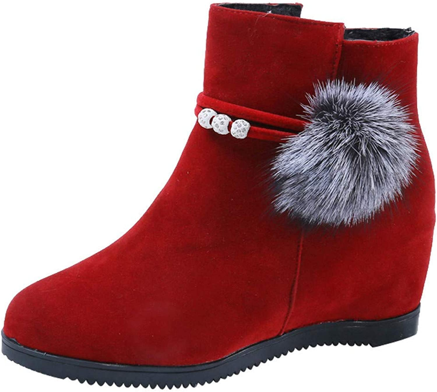 JaHGDU Women Suede Hairball Red Black Brown Round Toe Wedges shoes Pure color Zipper Martin Boots Cosy Wild Casual Quality Super Elegant Leisure for Womens