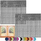 Bestlivings Fadenvorhang 2er Pack Gardine Raumteiler, Auswahl: 90x240 anthrazit - Silbergrau