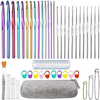 Sweieoni Crochets Set 50 Pièces Aiguille à Crochet Crochets en Aluminium Tricot Outils Crochet Knit Needle Crochets Multic...