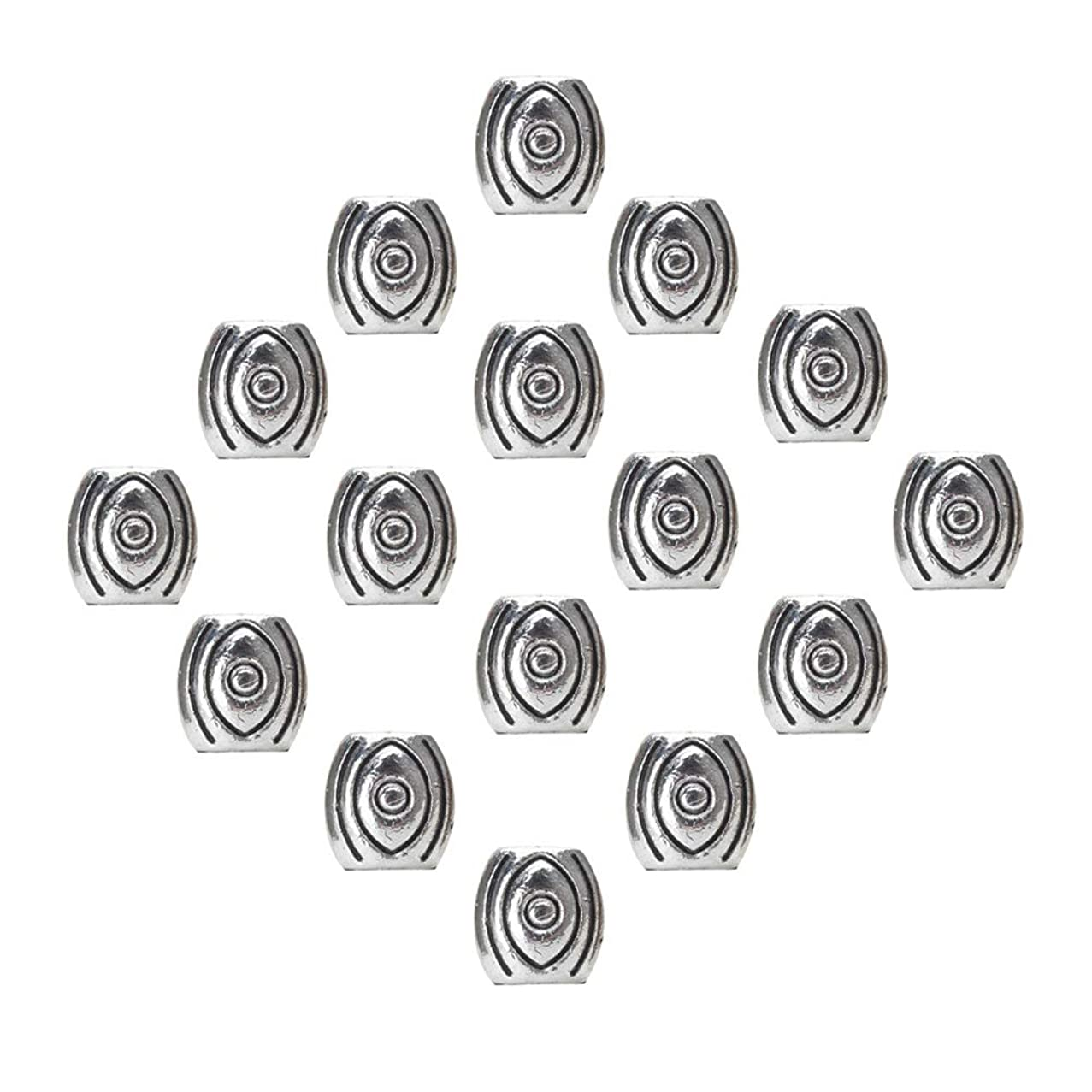 Mystart 60 Pieces Antique Silver Alloy Evil Eye Spacer Beads Necklace Bracelet Loose Beads DIY Accessories