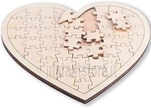Puzzle in legno vuoto a forma di cuore da personalizzare colorare decorare ecc a proprio piacimento