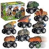 XIAOKEKE Coches Dinosaurios, 8PCS Pull Back Coches De Juguete De Dinosaurios Realistas Dino Cars Toys Cumpleaños para Niños Juguetes para De 3+ Años