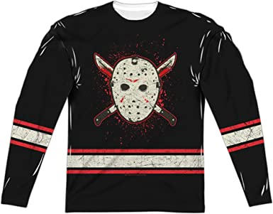 Friday The 13Th Voorhees Jersey (Front Back Print) LS Adult Poly Crew White