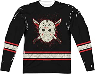 Friday The 13Th Voorhees Jersey (Front Back Print) L S Adult Poly Crew White