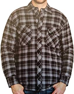Men's Plaid Shirt Jacket with Quilted Lining