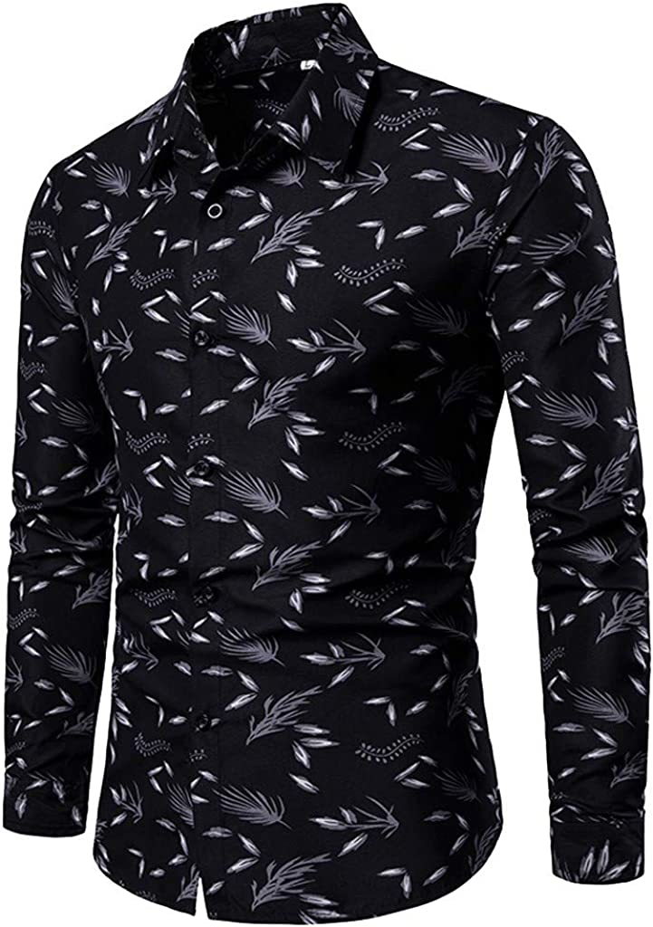 MODOQO Mens Dress Shirts,Casual Fashion Pattern Printed Baggy Button Down Gorgeous Shirt