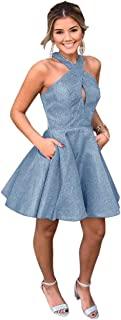Jonlyc Glitter A-Line Halter Sleeveless Short Homecoming Dresses with Pockets