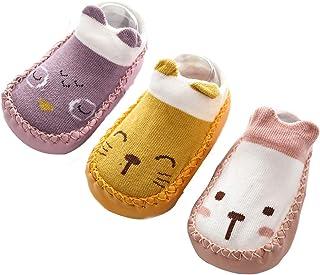 3Pcs Calcetines Prewalker para Recien Nacido Antideslizante Zapatillas de Piso Estampado Dibujo Animado Algodón Multicolor