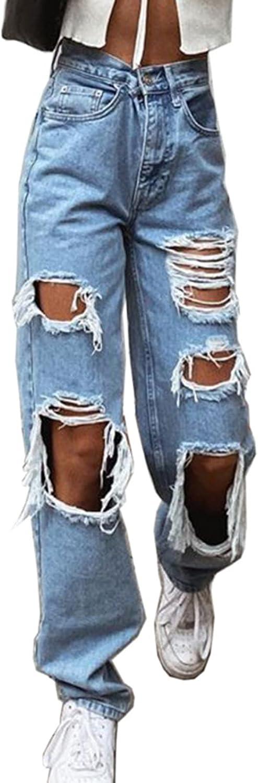 Women Ripped High Waisted Jeans Boyfriends Baggy Hole Denim Wide Leg Straight Trousers Y2k Streetwear Vintage Loose Pants