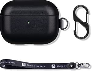 FooYin Portable Case for AirPods Pro, Vintage Leather AirPods Pro Case with Strap and Clip, Cover with Protective Microfiber Lining Design - Black