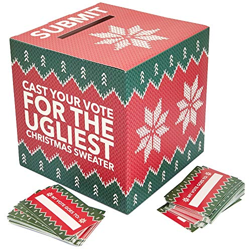 Ugly Christmas Sweater Contest Ballot Box and Voting Cards, Holiday Party Game (10 In)