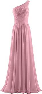 Women's Pleat Chiffon One Shoulder Bridesmaid Dresses Long Evening Gown