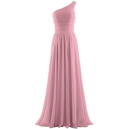 6ea127e196f ANTS Women s Pleat Chiffon One Shoulder Bridesmaid Dresses Long Evening Gown