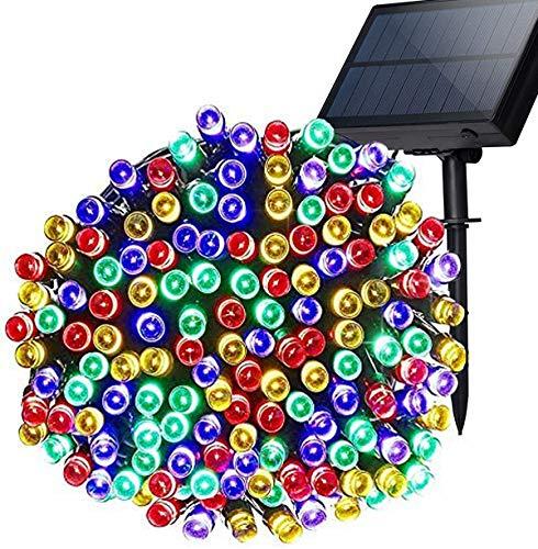 Lichterkette für den Außenbereich, solarbetrieben, 5 m, 50 LEDs, Solar-Lichterkette, wasserdicht, 8 Modi, Dekoleuchte für Garten, Terrasse, Zaun, Geburtstag, Hochzeit