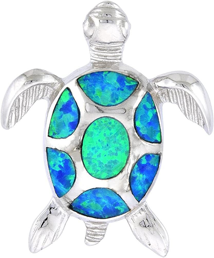 Sterling Super-cheap Silver Synthetic Opal Max 65% OFF Sea for Han Turtle Necklace Women