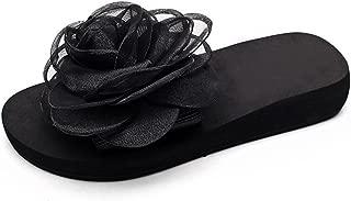 Women Wedge Flip Flops Sandals,Chiffon Flowers Bohemian Beach Slippers Slides Shoes