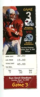2000 Arizona Cardinals v Dallas Cowboys NFL Ticket 9/10 37407