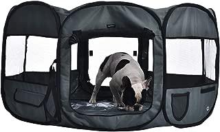 AmazonBasics Portable Soft Pet Dog Travel Playpen - 45 x 45 x 24 Inches, Grey