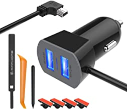 APPHOME Car Charger Compatible with Garmin Nuvi, 6.6ft Mini USB Charging Cable Dual Port Vehicle Power Replacement Cord Adapter with Styles Pen/Cable Clips/Car Crowbar for GoPro Hero PS3 Controller