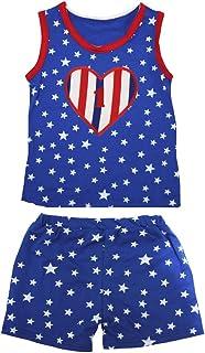 Petitebella Girls' 1St RWB Heart Patriotic Stars Red Cotton Shirt Short Set