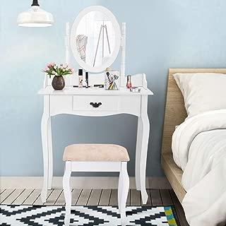 Giantex Bathroom Vanity Wood Makeup Dressing Table Stool Set Jewelry Desk W/Drawer &Mirror, White