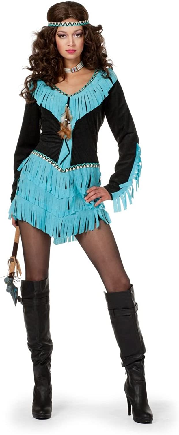 Women's Red Indian Squaw Costume Black Aqua Carnival
