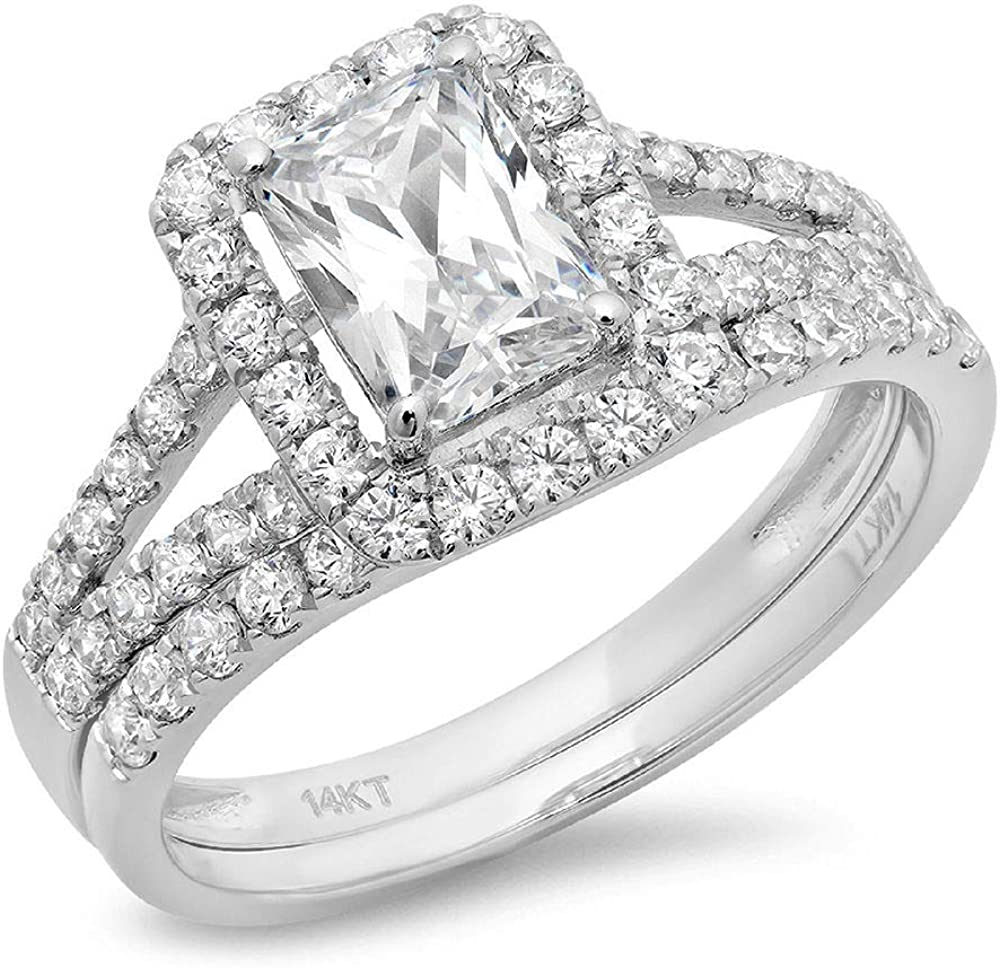 Clara Pucci - Emerald Cut Simulated 1.60 CT Diamond Engagement Ring 14 K White Gold Wedding Ring Band Set For Women