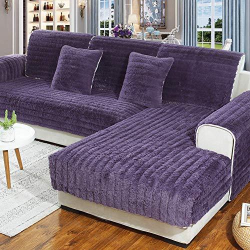 FSYGZJ Funda de sofá, [Felpa] [Invierno] Combinación Antideslizante Alfombrilla de sofá de Color sólido Toalla de sofá Engrosada Funda de sofá, Protector de sofá Morado 90x160 cm (35x63 Pulgadas)