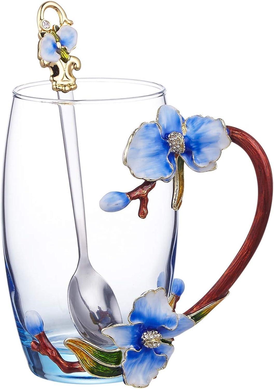 Coupes de verre personnalisées Couleur de l'émail rohommetique bleu rose transparent cristal tasse de verre 12 onces, verre for tasse à café tasse tasse à thé (avec plat et cuillère) Tasses classiques f