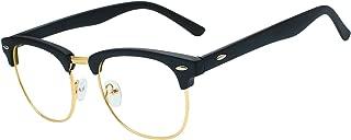 Classic Semi-Rimless Half Frame Clear Glasses -RANHUU Fake Nerd Horn Rimmed Eyeglasses Frame