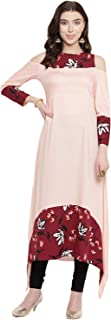 Lady Stark Printed Full Sleeves Ankle - Length Pink Color Kurta for Ladies