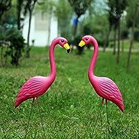 feileng フラミンゴ ガーデンオーナメント ガーデン置物 お庭の置物 可愛い 動物、植物のガーデンオブジェ キュートなガーデニングインテリア室内 ガーデン 園芸置物