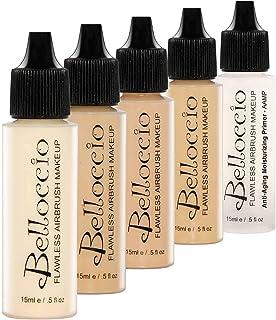 Belloccio Fair Color Shade Foundation Set - Professional Cosmetic Airbrush Makeup in 1/2 oz Bottles