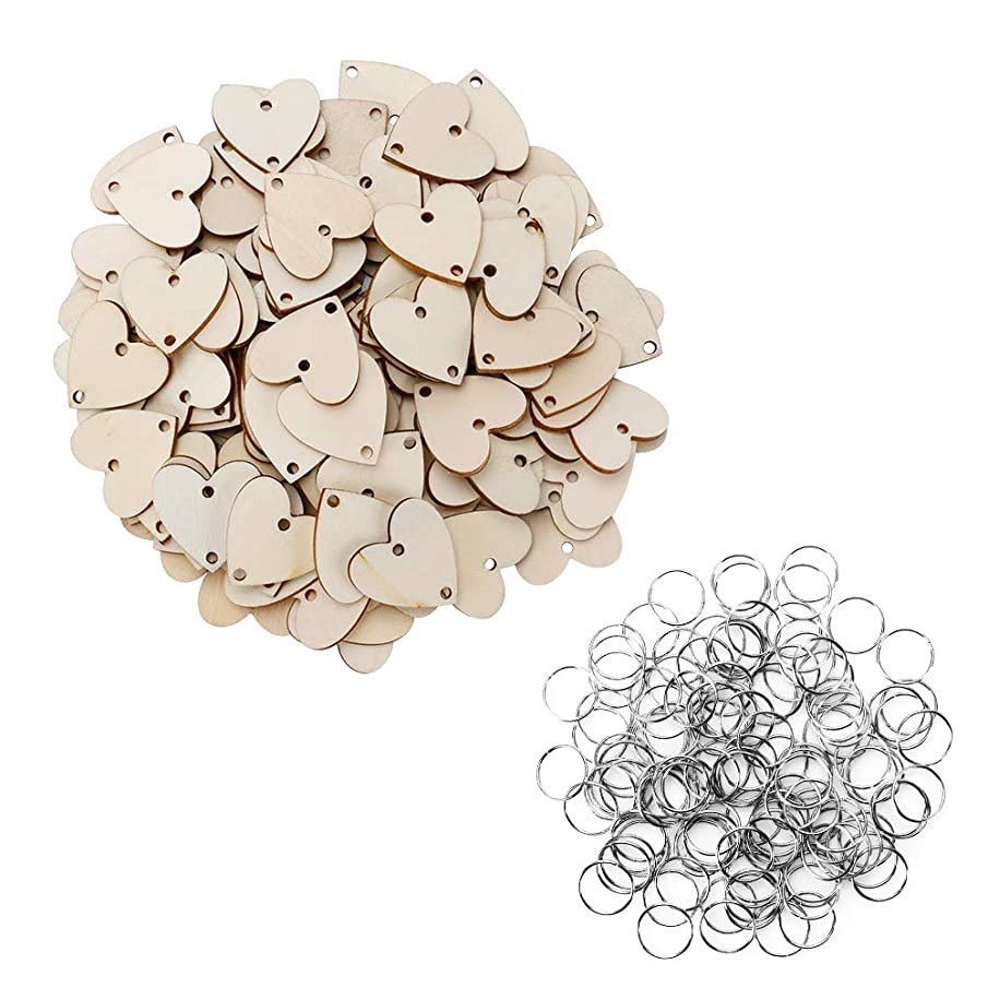 Joy-Leo 100 Pieces Jump Rings & 100 Pieces Heart Unfinished Wood Cutouts with 2 Holes [1.2 Inch/Natural Look] for Crafts & Family Birthday & Anniversary & Celebration Reminder Calendar Board